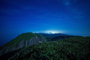 Moonlight view over the northern hills