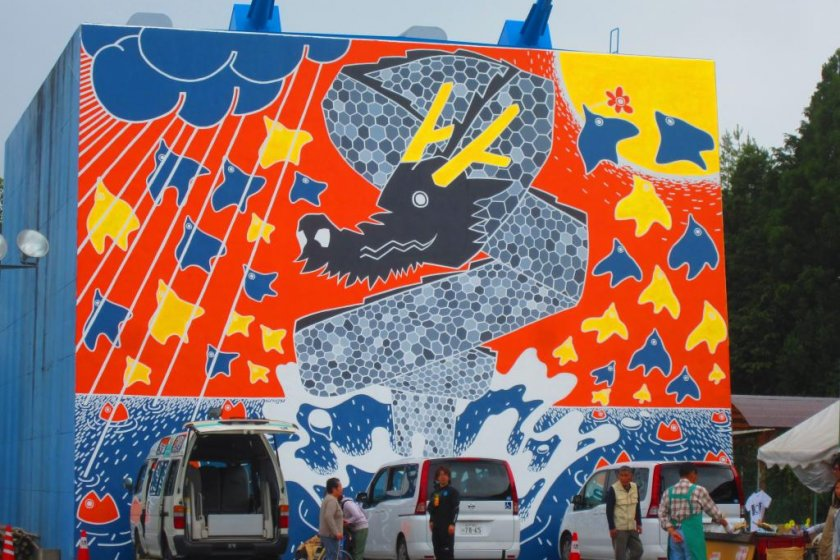 Recently completed dragon mural at Ryujin Bridge