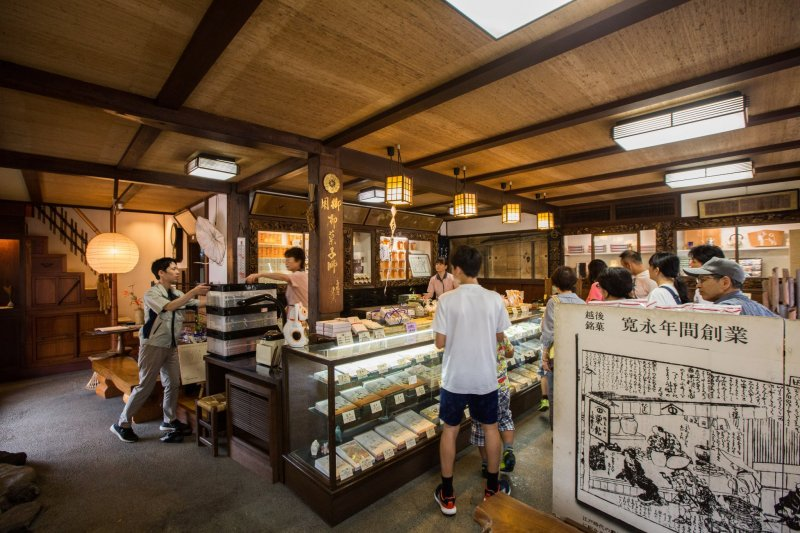 There are many types of traditional Japanese sweets to choose from.
