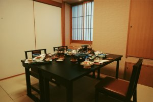 Sharing a meal at the ryokan