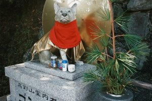 A statue of one of the hunter's dogs is at the shrine
