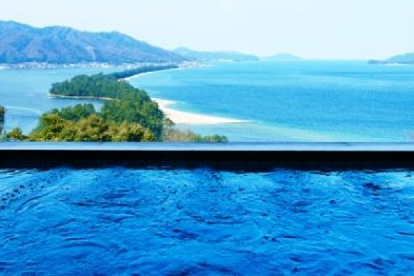 Bath with a view from Genmyoan Ryokan Amanohashidate on the North Shore of Kyoto Prefecture