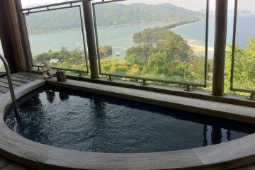 Open air bath at Genmyoan Ryokan Amanohashidate on the North Shore of Kyoto Prefecture