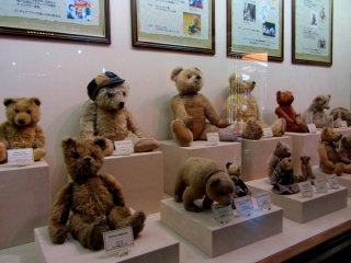 The antique teddy bears are really interesting