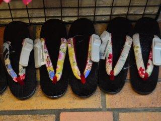 Traditional sandals to accompany kimono.