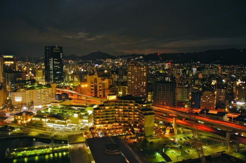 Panoramic view from the Kobe Port Tower café
