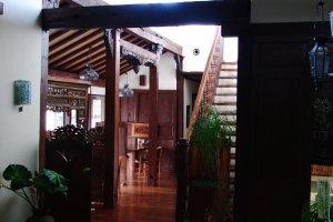 The interior features beautiful hardwood beams