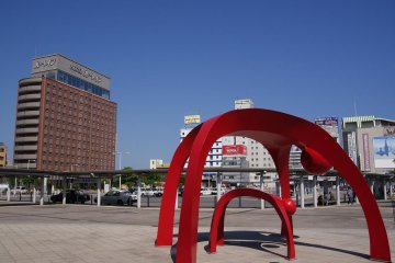 The view of the hotel from the main exit at JR Hakodate Station