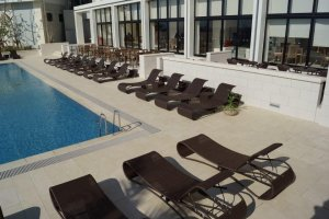 Beautiful beach chairs set along the outside of the hotel's outdoor pool.