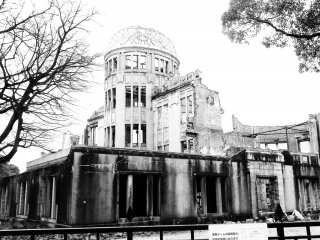 Hiroshima's Genbaku Dome. The first ever atomic bomb to be used in war detonated right above the city. It's a haunting reminder of that fateful day.