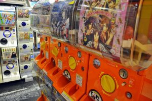 Take a chance on your winnings with a gatcha-pon machine