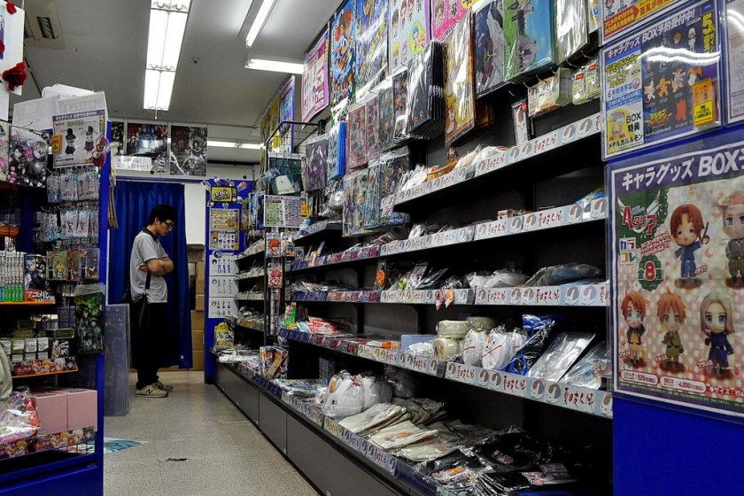 A customer ponders his choices in Animate