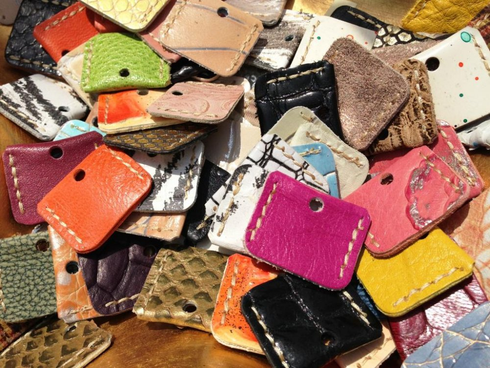 Leather key holders galore at the Chion-ji temple Artisan Markets on the 15th of each month in North Eastern Kyoto