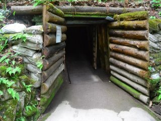 Gate to the dark and slippery old tunnel where people dug out amber from its source in times past. Watch out!