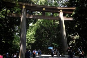 The torii, or gate, marking the entrance to the shrine grounds