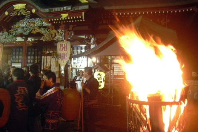 Oosaki Jinja by matsuri firelight, summer
