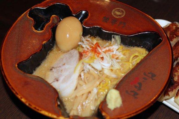 A bowl of miso ramen from the Kanisenmon Keisuke shop on Tokyo Ramen Street.