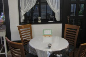 One of the semi-secluded tables