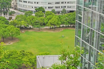 Tenjin Central Park is directly in front of the building.