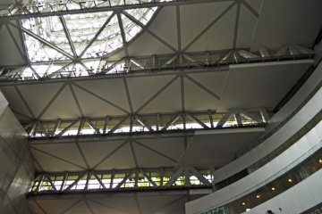 The view from inside the building. You can see the steps leading up.