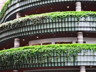 The mall is beautifully decorated with greenery.
