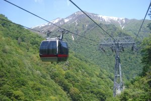 The ropeway that takes you up to the top station