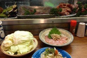 Chicken sashimi and salad