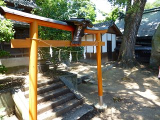 A bright orange torii gate signifies sacred ground