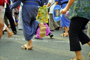 Participants wear traditional geta to add sound to their dancing; at this particular event, geta were sold on site