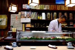 Proprietor of Hinode Sushi, Takaoka city