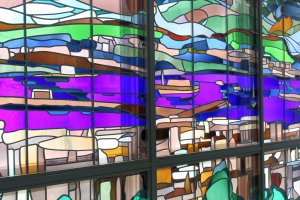 Gorgeous stained glass windows found inside the station.