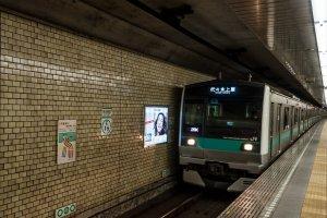 The trains on platform 1 head to Yoyogi-Uehara