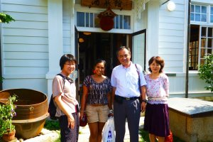 Jasmine, myself, Hisao Maegaki (the President of Kamoizumi Shuzo Co. Ltd) and Kumiko