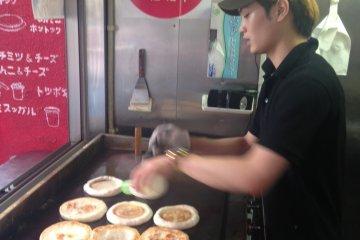Golden brown Korean street pancakes from Mr Hottoku