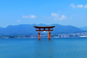 You get a stunning view of the torii gate from the centre of Itsukushima shrine