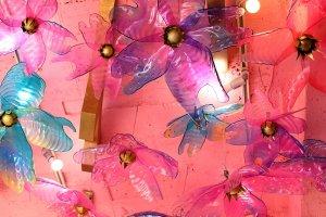 Sakura installation above the bed