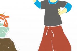 Detalhe da personagem masculina