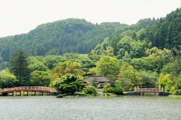 Looking across the pond at Shiramizu Amida-do