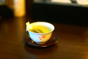 In your room you will find green tea and traditional teacups.