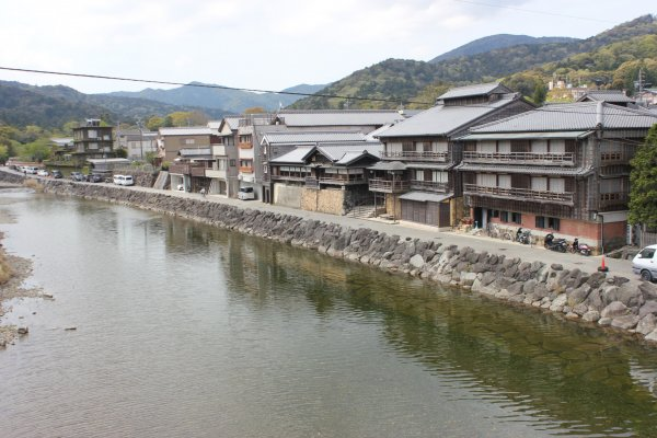 Japanese traditional housing along the river