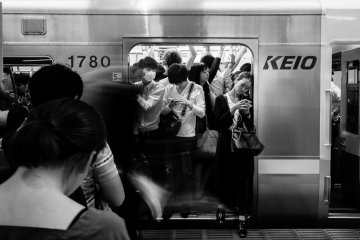 """Of course, Tokyo """"should"""" be simplified… at first. The amount of people, the energy, the summer heat, the lack of eye contact, the constant smoke break that inserted a light haze into the piercing light — everything, everything fascinated me in an unprecedented way and I kept taking photo after photo."""