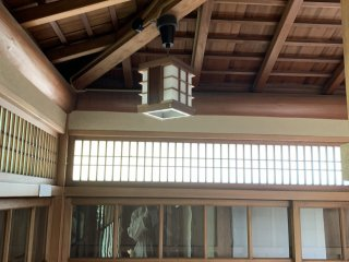 Interior view of tatami room with paper windows