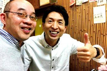 Masamitsu Fujita (right) owner of the Fujitaya Guestho