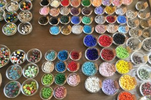 An array of beads is available to choose from