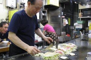Okonomiyaki cooking process
