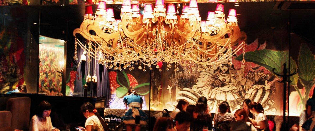 Dine under a spectacular chandelier at Alice\'s Fantasy Restaurant in Shinjuku.