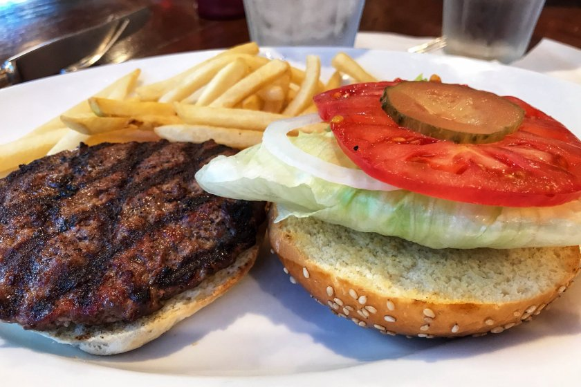 The regular hamburger option. They\'re presented open faced so you can add ketchup or mustard if you wish!
