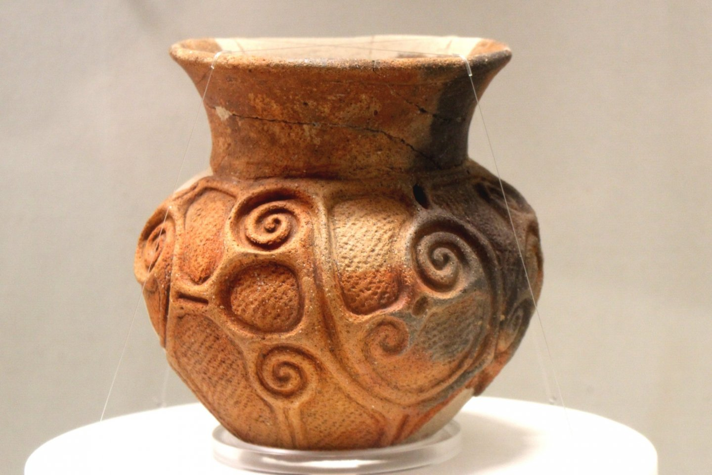 Ancient pot with deep ornament
