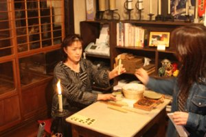 The Ōmori candle shop sells handmade Japanese candles as well as locally made wrought iron candle holders.