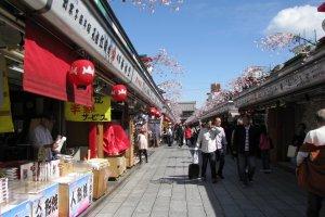 Asakusa's Nakamise Street in spring